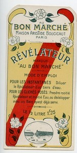 France Paris Etiquette Revelateur Produits Photographique Photo Au Bon Marché 1900