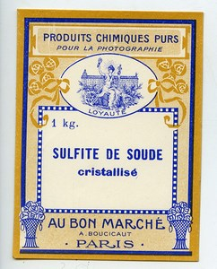 France Paris Photographic Product Sodium Sulfite Label Photo Au Bon Marché 1900