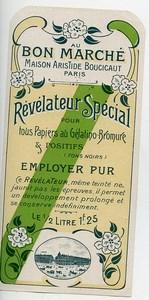France Paris Etiquette Revelateur Special Produits Photographique Photo Au Bon Marché 1900