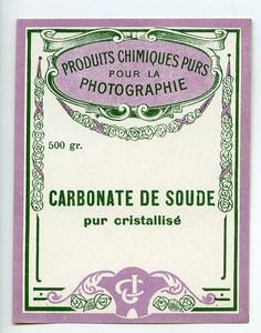 France Paris Etiquette Carbonate de Soude Produits Photographique Photo CJ 1900