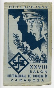 Spain Zaragoza Label XXVIIIth International Photo Exhibition 1952
