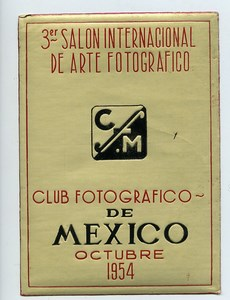 Mexico Label of 3rd International Exhibition Photographic Arts 1954