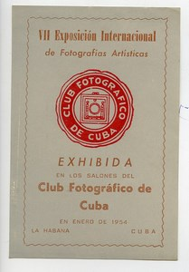 Cuba La Habana Label VIIe International Photo Exhibition 1954