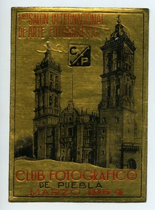 Mexico Puebla Label of First International Exhibition Photographic Arts 1954