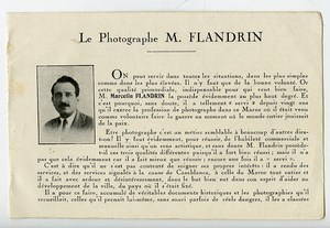 Morocco Photographer's advertising leaflet Marcelin Flandrin by El Fquih 1930