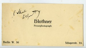 Germany Berlin Business card of Press Photographer Blothner 1930