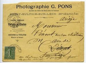 France Toulouse Courrier du Photographe G. Pons au Maire de Lezat sur Leze 1904