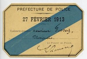 France Paris Photographe Fossey Laissez-passer Prefecture de Police 1913