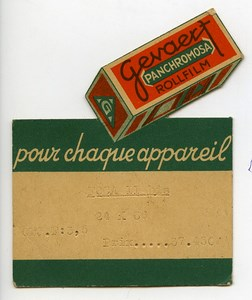 France Small Advertising card Photography Gevaert Panchromosa 1930