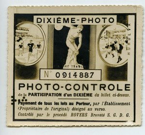 France Lottery Ticket Billet de Loterie Photo Contrôle Rovers 1930