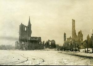 Belgium Ieper Ypres Main Square Ruins WWI War Disaster Old Photo 1918