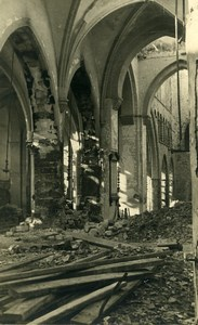 Belgium Tournai Church Ruins WWII War Disaster Old Photo 1945