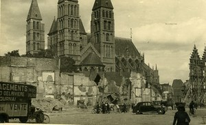 Belgium Tournai Church Ruins WWII Delariviere Moving Truck Old RPPC Photo 1945