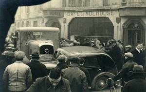 France Mémoires d'une Dépanneuse Accident de Voiture Café de Mulhouse Ancienne Photo 1935