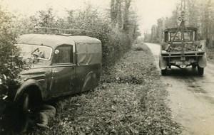 France Mémoires d'une Dépanneuse Accident de Camionnette fosse Ancienne Photo 1935