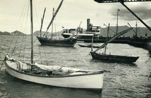Vietnam Saigon Cam Ranh Bay Boats Sailboats Old Photo 1935