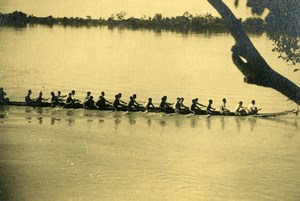 Cambodia Phnom Penh Regatta on Mekong River Pirogue Old Photo 1935