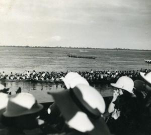 Cambodia Phnom Penh Regatta on Mekong River Spectators Old Photo 1935