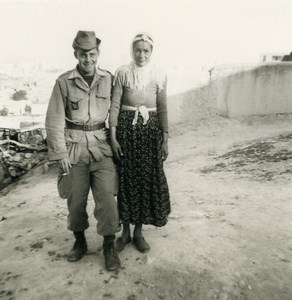 Algeria Independence War French Soldier & Algerian Woman Old Photo 1960