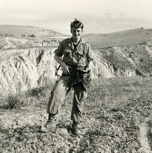 Algeria Independence War French Soldier & Automatic Rifle Old Photo 1960