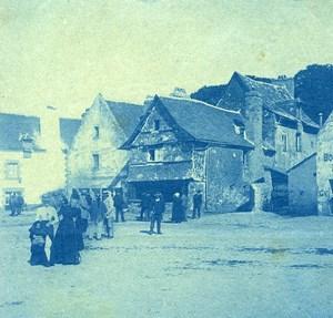 France Bretagne Seaside Village Old Photo Cyanotype 1900