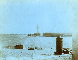 France La Ciotat Scene de bord de Mer le Phare entrée du Port ancienne Photo 1900