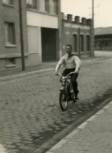 France Lille Happy Man riding Mobylette Moped Old Photo 1960