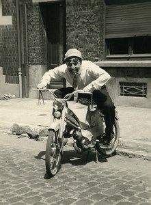 France Lille Happy Man on Mobylette Moped Old Photo 1960