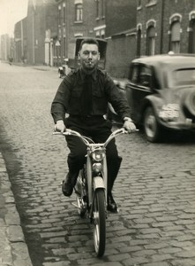 France Lille Smoking Man on Mobylette Moped Old Photo 1960