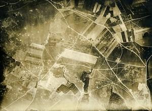 France WWI Monthiers Bataille de Chateau Thierry ancienne Photo Aérienne 1918