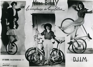 France Music Hall Circus Cycling Acrobat Miss Billy Old Photo Lansival 1950