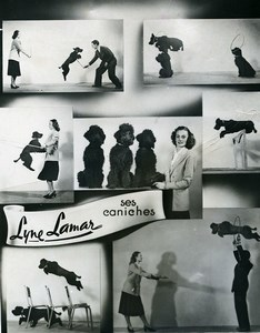 France Music Hall Circus Acrobat Lyne Lamar & Poodle Dogs Old Photo 1950