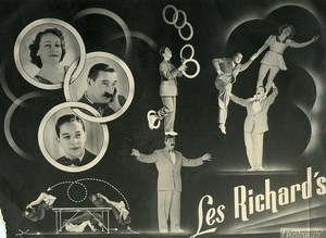 France Music Hall Circus Acrobat Juggler les Richard's Old Photo Photonub 1950