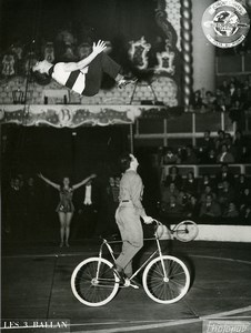 France Music Hall Bouglione Circus Acrobat Bicycle 3 Ballan Photo Photonub 1950