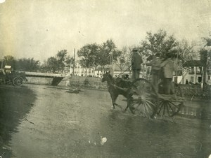 France Horses Cart Study Flooded Road Old Photo 1900