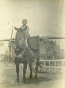 France Woman Peasant on Horse Farming Study Old Photo 1900
