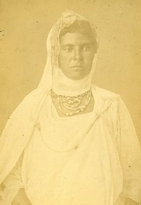 Algeria Kabyle Woman Portrait Old Photo Cabinet Card Geiser 1880