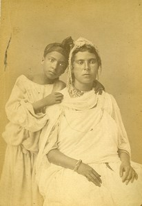 Algeria Young Women Kabyle Portrait Old Photo Cabinet Card Geiser 1880
