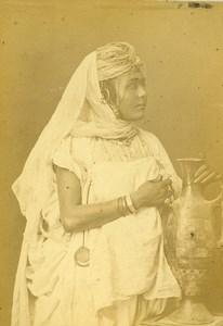 Algerie Portrait de Jeune Femme Kabyle? ancienne Photo Carte Cabinet Geiser 1880