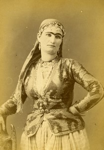 Algeria Portrait of Moorish Woman Old Photo Cabinet Card Geiser 1880