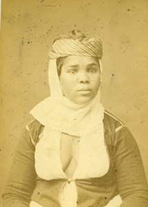 Algeria portrait of Young Kabyle Woman Old Photo Cabinet Card Geiser 1880
