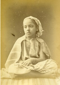 Algeria Portrait of Young Girl Child Old Photo Cabinet Card Famin 1880