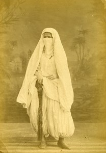Algeria Veiled Woman wearing Niqab ? Old Photo Cabinet Card Famin 1880