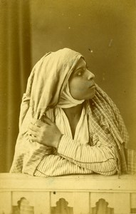 Algeria Portrait of Young Arab Woman Old Photo Cabinet Card Famin 1880