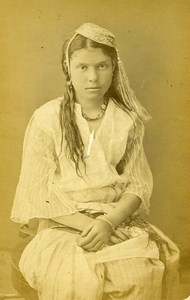 Algeria Portrait of Young Kabyle Woman Old Photo Cabinet Card 1880