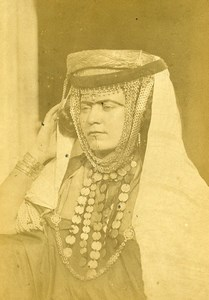 Algeria Portrait of Young Kabyle Woman Old Photo Cabinet Card Famin 1880