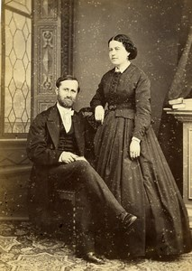 France Beauvais Married Couple de Nayville Old Photo Cabinet Card Herbert 1870's