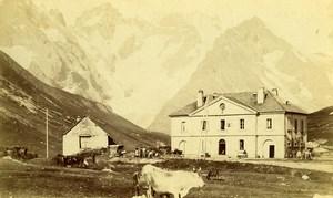 France Alps Col du Lautaret & Hospice National Old Photo Cabinet Card 1890