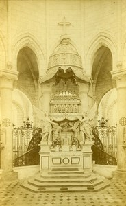 France Yonne Abbaye de Pontigny Interieur ancienne Photo Carte Cabinet 1890