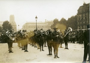 Paris US Independence Day Marching Band WWI Old Photo Identite Judiciaire 1917